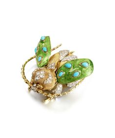 An enamel, turquoise and diamond beetle brooch, by Tiffany,