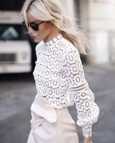 | white lace + winter white skirt |