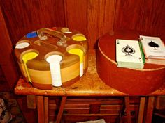 Vintage Wood Poker Chip Caddy Carousel With Chips 2 ARRCO Decks of Playing Cards