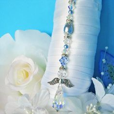 Something Blue Anklet Swarovski Crystals by CrystalBlueDesigns Wedding Bouquet Charms, Bridal Bouquet Blue, Wedding Bouquets, Charms Swarovski, Swarovski Crystals, Something Blue Bridal, Wedding Accessories, Wedding Jewelry, Angel