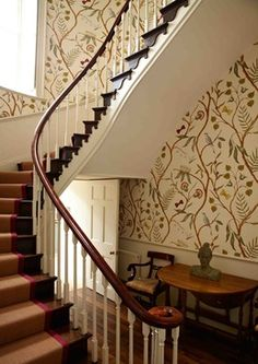 Fill a staircase with Adam's Eden by Lewis and Wood's large scale wallpaper #largescalewallpaper #largescalefabric #floralwallpaper