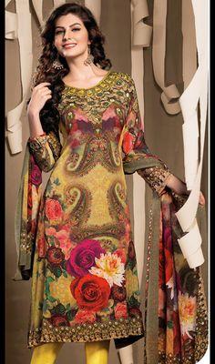 Yellow Shade Georgette Churidar Dress Price: Usa Dollar $78, British UK Pound £46, Euro58, Canada CA$85 , Indian Rs4212