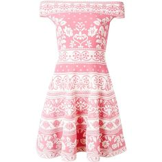 Alexander McQueen floral jacquard mini dress (50 460 UAH) ❤ liked on Polyvore featuring dresses, off the shoulder floral dress, short sleeve dress, circle skirt, off the shoulder dress and pink dress