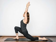 12 Hip-Opening Yoga Poses - Low Lunge - Start in a runner's lunge, right leg forward with knee over ankle and left knee on ground with top of your foot flat on the mat. Slowly lift torso and rest hands lightly on right thigh. Lean hips forward slightly, keeping right knee behind toes, and feel the stretch in the left hip flexor. Hold here, or for a deeper stretch, raise arms overhead, biceps by ears. Hold for at least 30 seconds, then repeat on opposite side.