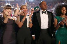 (L-R) Actress Jessica Biel, singer Beyonce, rapper Jay-Z and singer Solange Knowles attend the 55th Annual GRAMMY Awards
