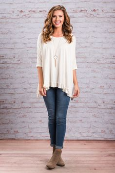 """""""Full Of Fun Top, White""""This top is more than just full on fun! It's full of comfort, frills and all around cuteness! The ruffled hemline and batwing sleeve add so much to this would be plain top. #newarrivals #shopthemint"""