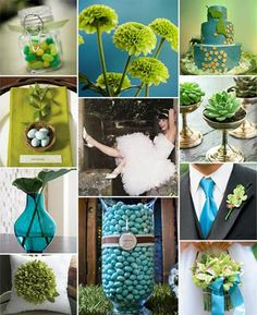 Wedding colors blues and greens