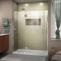 "DreamLine D3250672L Unidoor-X 72"" High x 55-1/2"" Wide Hinged Frameless Shower Do The DreamLine Unidoor-X is a frameless shower door, tub door or enclosure that features a luxurious modern design, complementing the architectural details, tile patterns and the composition of your bath space. Unidoor-X showcases sleek, clean lines to enhance any shower space, creating a stunning appearance. DreamLine exclusive ClearMax water repellant and stain resistant glass coating adds superior protection…"