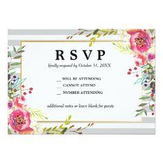 Elegant Floral & Stripes RVSP Card - baby gifts child new born gift idea diy cyo special unique design