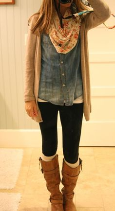 Denim Shirt, Tan Cardigan, Black Pants