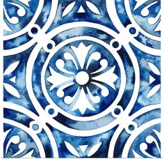 Trademark Global Grace Popp Cobalt Tile Iv Canvas Art - 27 x 33 Artist Canvas, Canvas Artwork, Canvas Wall Art, Canvas Prints, Framed Prints, Big Canvas, Portuguese Tiles, Outdoor Lounge Furniture, Furniture For Small Spaces