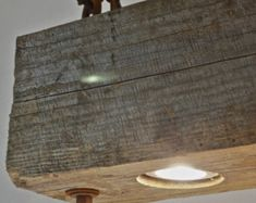 Rustic Industrial Modern hanging reclaimed wood beam light lighting fixture with LED lamps and rusted chain
