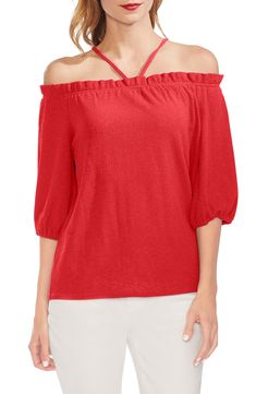 AMLLY Women Cold Shoulder Spaghetti Strap V Neck Bell Sleeve W Knit Sweater