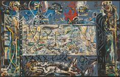 Jackson Pollock (American; Abstract Expressionism, New York School; 1912-1956): Guardians of the Secret, 1943. Oil on canvas, 48-3/8 x 75-3/8 inches (122.89 x 191.47 cm). San Francisco Museum of Modern Art, California, USA. © Pollock-Krasner Foundation / Artists Rights Society (ARS), New York.