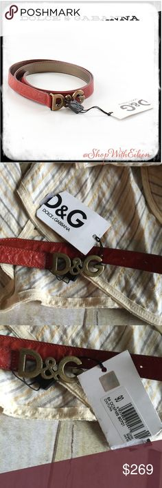 Dolce & Gabbana D&G Burnt Orange Leather Belt  Dolce & Gabbana D&G Burnt Orange Leather Belt NWT ~ size 90 is equivalent to US size 12 ! This belt is in pristine new condition with tags attached! This is a beautiful addition to any wardrobe! Wear it with denim or over a long black dress to Cinch in the waist! NWT! AUTHENTIC! Dolce and Gabbana Accessories Belts