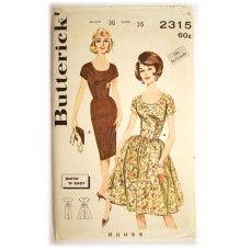 Butterick 2315 Vintage 1960s Shirred Bodice Dress Pattern Full or Slim Skirt