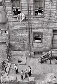 """July 1938. """"Slums in Pittsburgh, Pennsylvania."""" 35mm nitrate negative by Arthur Rothstein for the Farm Security Administration."""
