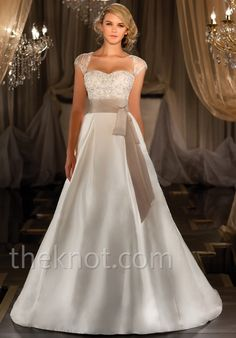 Gown features beading. Jacket and sash available separately.