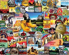 In the 1000 piece jigsaw puzzle, National Park Badges by White Mountain, a detailed collage of national park badges is depicted. Some of the badges include parks such as Zion National Park, Yosemite National Park, Yellowstone National Park, Badlands National Park, and Acadia National Park. This puzzle is the perfect compilation of national parks and American pride! It's a gift for any nature lover!