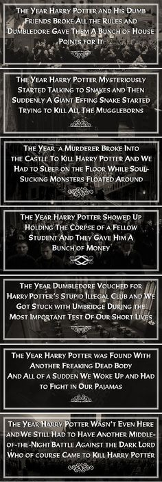 """""""A moment of silence for the poor students who were in Harry Potter's year and only wanted a normal Hogwarts education."""" This is hysterical."""