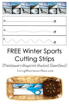 These free Montessori-inspired winter sports cutting strips