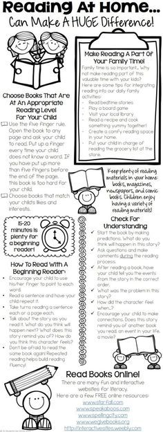 Reading At Home - Tips For Parents. This printable includes tips for : - integrating reading in our daily family activities - choosing appropriate books - tips for helping beginning readers - practicing fluency & developing comprehension skills! Reading Homework, Reading At Home, First Grade Reading, Reading Workshop, Kindergarten Reading, Teaching Reading, Children Reading, Open House Kindergarten, Reading Counts