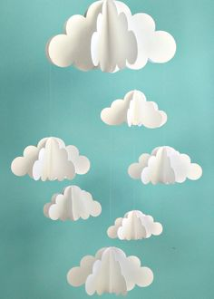 Paper clouds - cute decor for baby shower. Perhaps pair with hot air balloon made from paper lantern also pinned to this board?