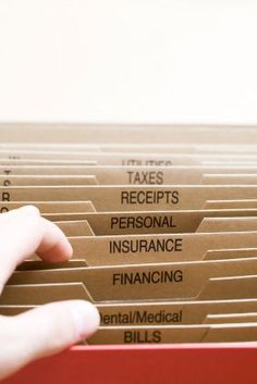 I was working on our family budget the other day and began searching out ways to organize our personal documents. Today, I thought that the best person to go to for info was already on my speed di… Financial Organization, Bill Organization, Organizing Bills, Organising, Financial Tips, Financial Planning, Money Tips, Money Saving Tips, Personal Insurance