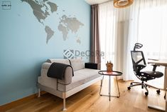 Modern and colorful interior design. The office with sticker map and GT Ergo chair. Colorful Interior Design, Colorful Interiors, Ikea, Modern, Chair, Projects, Sticker, Map, Home Decor