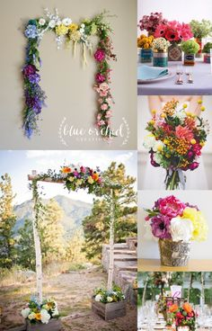 Beautiful colorful wildflower garland perfect for an outdoor wedding spring, summer, or fall. Rustic touches including a birch wood centerpiece and beautiful bouquet can all be found on our Etsy shop at Blue Orchid Creations. Any piece including our garland can be customized for any bride.