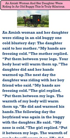 An Amish Woman And Her Daughter Were Riding In An Old Buggy. This Is Truly Hilarious... - Damn Funny Clean Funny Jokes, Short Jokes Funny, Latest Funny Jokes, Funny Jokes For Adults, Hilarious, Silly Jokes, Cop Jokes, Wife Jokes, Girlfriend Humor