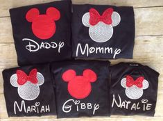 Custom Embroidered Red and Black Family Disney Shirts