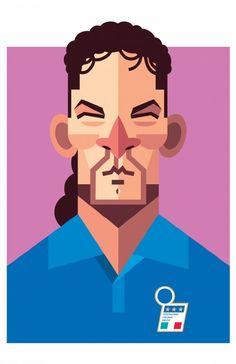 El autor de estos retratos es Daniel Nyari, un ilustrador nacido en Rumania, criado en Austria y actualmente residente en la ciudad de Nueva York. Se pueden ver grandes íconos del fútbol mundial como Messi, Maradona, Totti, Ronaldinho, entre otros.
