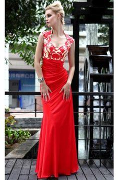 Chic Red Floor Length Open Back Formal Evening Dresses