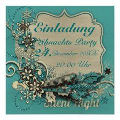 """Einladungskarte """"Silent Night"""" Vers01, Weihnachts Party, Bilder können hinzugefügt und Text kann geändert werden. Grafik und Entwurf bei ArianneGrafX©2013"""