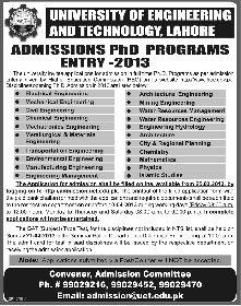 Admissions 2013, UET Lahore