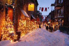 Christmas lights on dark, wintery nights