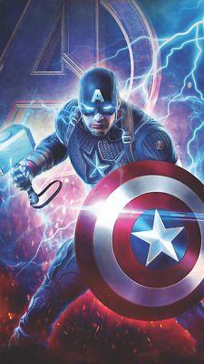 The Worthy Avengers Endgame wallpaper of Captain America created by Heavenly Kaos # endgame Marvel Captain America, Ms Marvel, Marvel Dc Comics, The Avengers, Iron Man Avengers, Marvel Characters, Marvel Movies, Marvel Fanart, Captain America Wallpaper