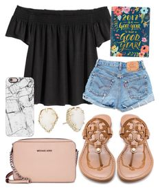 """""""Smile today"""" by jadenriley21 on Polyvore featuring Levi's, Tory Burch, Michael Kors, Casetify and Kendra Scott"""