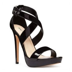 Nine West Eyesonyou Open Toe Sandals ($90) ❤ liked on Polyvore featuring shoes, sandals, black synthetic, strappy high heel sandals, black platform shoes, nine west sandals, black stilettos and nine west shoes #strappysandalsheels