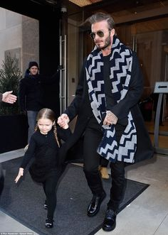 David Beckham in bold patterned scarf