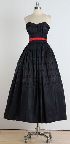 Vintage 1940's Fred Perlberg Peekaboo Eyelet Dress | From a collection of rare vintage evening dresses at https://www.1stdibs.com/fashion/clothing/evening-dresses/