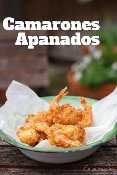 Camarones Apanados, una receta sencilla que logra un resultado espectacular. Crocantes por fuera, cocidos y deliciosos por dentro. www.enmicocinahoy.cl