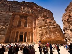"""Petra, JordanIn The Last Crusade, Indiana Jones is after the Holy Grail, and what better place to """"house"""" it than in a real-life place called """"The Treasury""""? That's the popular tourist attraction, the Al Khazneh, in Petra, Jordan, a giant, ornately carved sandstone temple facade, which dates back to the first century AD."""