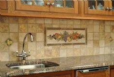 Ceramic Tile Murals for Kitchen Backsplash - Tree Of Life Kitchen Tile Backsplash Mural. White Tile Backsplash, Rustic Backsplash, Kitchen Wall Tiles, Kitchen Backsplash, Backsplash Ideas, Tile Ideas, Stone Backsplash, Backsplash Design, Kitchen Images