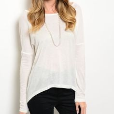 """Creamy white top Creamy white dolman sleeve top. Very soft and flattering. Has crochet elbows for a beautiful detail. Available in S,M,L. Made of 65% Polyester, & 35% Cotton. Measurements for a Small: L-93"""", B-36"""", W-32"""". Please do not purchase this listing, comment below & I will gladly make you a listing. Tops"""