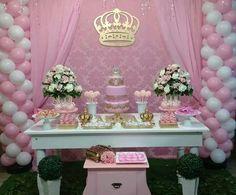 Chá de bebê Gold Birthday, 1st Birthday Girls, Princess Birthday, Princess Party, Birthday Parties, 1st Birthday Girl Decorations, Girl Baby Shower Decorations, Baby Shower Themes, Sweet 16 Decorations