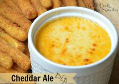 Cheddar-Ale-Dip - use gluten-free beer - Wouldn't this be good with zucchini fries, lc breaded mushrooms, lc breaded chicken nuggets or ham, pepperoni & salami cubes?