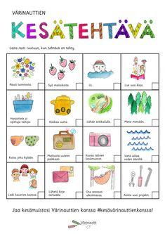 Tällä sivulla on kesään liittyvää materiaalia.Klikkaa kuvaa niin pääset tulostamaan tai tallentamaan tiedostot PDF-muodossa. Yleiset tehtävät Kesätervehdykset Kindergarten, Content, Comics, Kindergartens, Cartoons, Preschool, Comic, Preschools, Comics And Cartoons