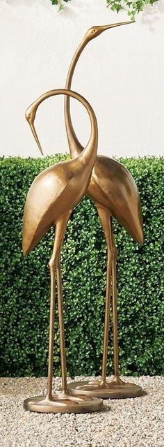 Hand-sculpted aluminum statues feature elegant cranes in mid-action poses mounted on sturdy, iron-filled bases. A powdercoated brass finish completes each dramatic conversation piece. Copper Art, Action Poses, Rustic Charm, Rustic Design, Crane, Statues, Cleaning Wipes, Sculpting, Conversation